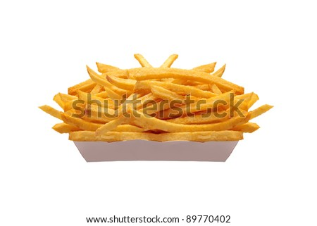 French fries in white box isolated on white - stock photo