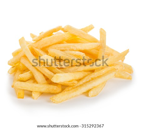 French fries isolated. - stock photo