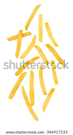 French fries isolated on a white background - stock photo