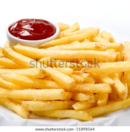 French Fries & Ketchup - stock photo