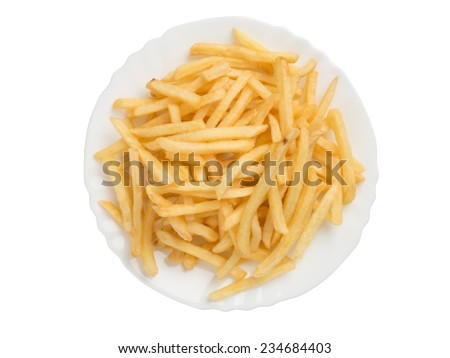 french fries on a plate close up - stock photo