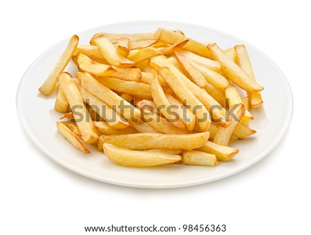 French fries on a plate isolated on white - stock photo