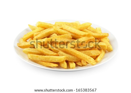 French fries on a plate on white - stock photo