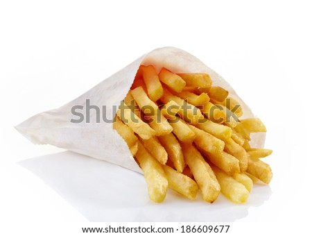 French fries on a white background.  - stock photo