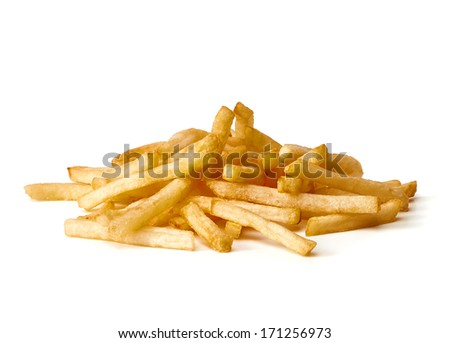 French fries pile on white background - stock photo