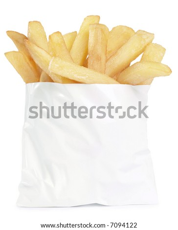 French Fries To Go - isolated on white - stock photo