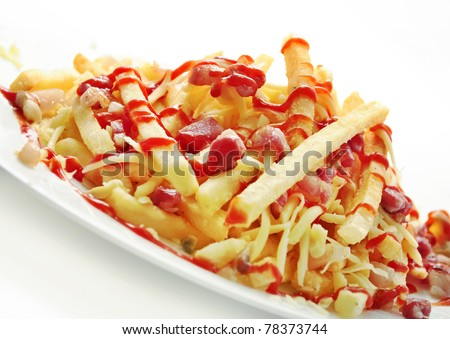 french fries with bacon and cheese - stock photo