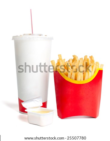 French fries with cheese sauce and a large drink - stock photo