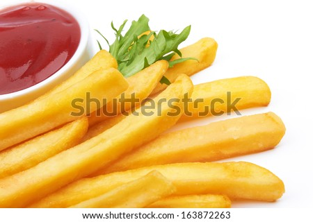 French fries with ketchup on white  - stock photo