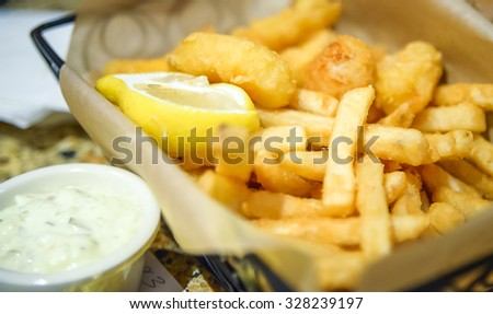 french fries with ranch dipping. - stock photo
