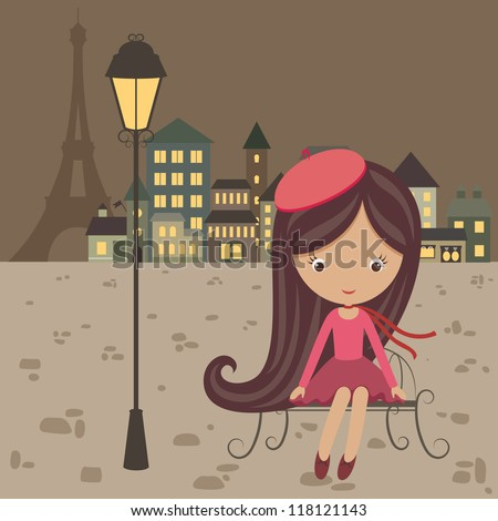 French cartoon stock photos images pictures shutterstock - Cartoon girl sitting alone ...