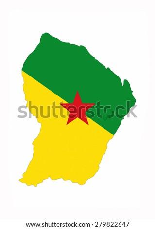 french guiana country flag map shape national symbol - stock photo