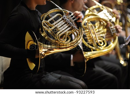 french horn during a classical concert music - stock photo