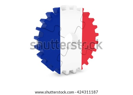 French Industry Concept - Flag of France 3D Cog Wheel Puzzle Illustration - stock photo