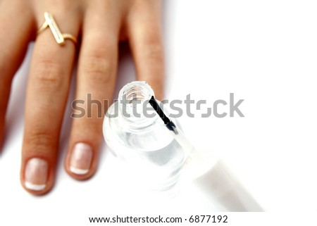 French manicure - stock photo