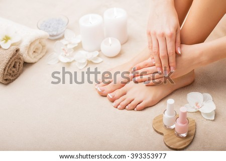 French manicure and pedicure - stock photo