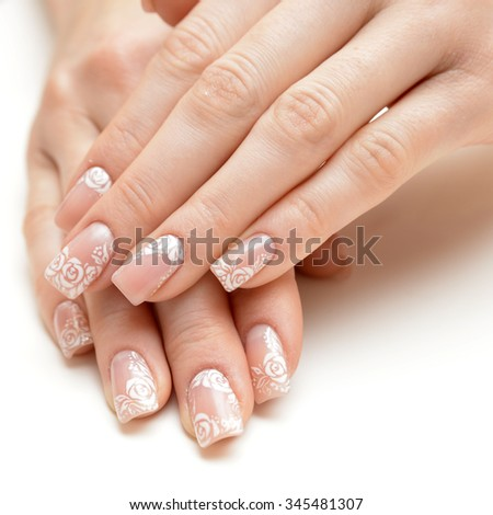 french manicure isolated  - stock photo