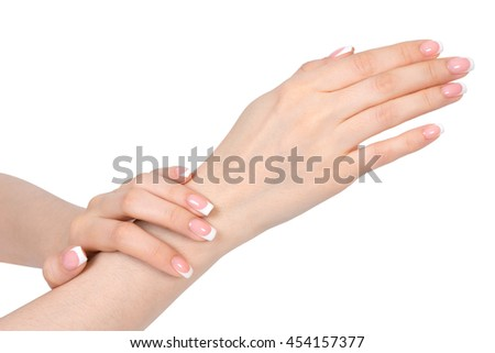 French manicure on white background, isolated - stock photo