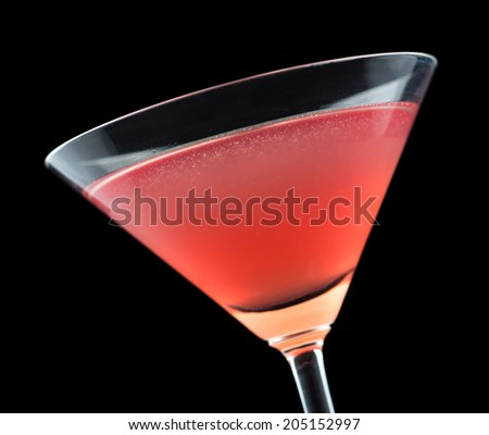 French Martini cocktail, consisting of vodka, raspberry liqueur and freshly squeezed pineapple juice - stock photo