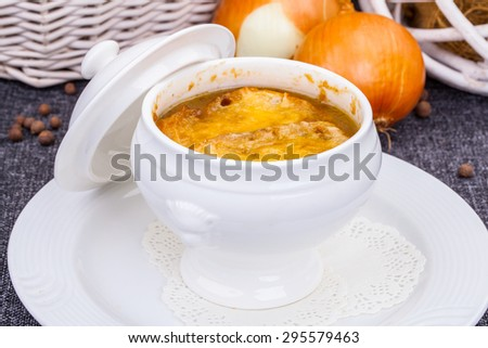 French onion gratin soup - stock photo
