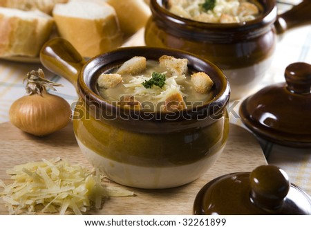 French onion soup with cheese - stock photo