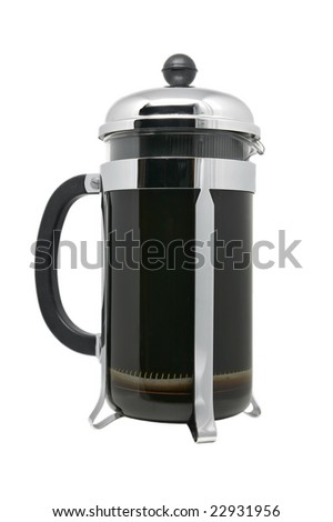 French Press Coffee Isolated - stock photo