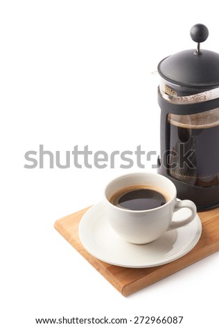 French press pot coffee maker and ceramic cup of coffee over the booden serving board, composition isolated over the white background and framed as a copyspace background composition - stock photo
