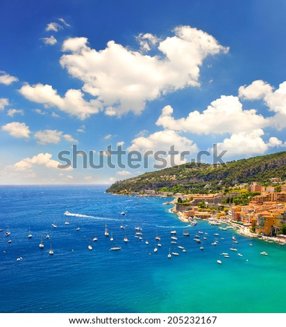 French riviera, Mediterranean Sea. view of luxury resort and bay of Cote d'Azur. Villefranche by Nice - stock photo