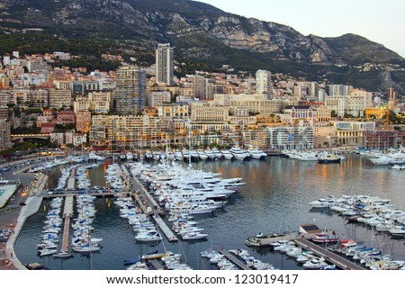 French Riviera. Principality of Monaco. View of the inhabited massif and port - stock photo