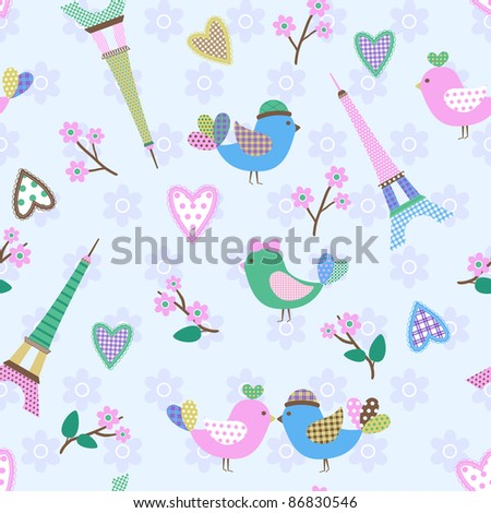 French styled pattern with birds, hearts and Eiffel. Blue. Seamless pattern can be used for wallpaper, pattern fills, web page background, surface textures. - stock photo