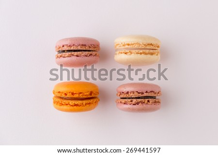 French sweet delicacy, macaroons colorful  variety, top view. - stock photo