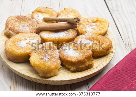 French toasts. Traditional Spanish torrijas - stock photo