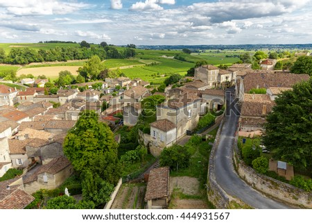 French village and vineyard at Saint Emilion, Unesco heritage near Bordeaux, France - stock photo