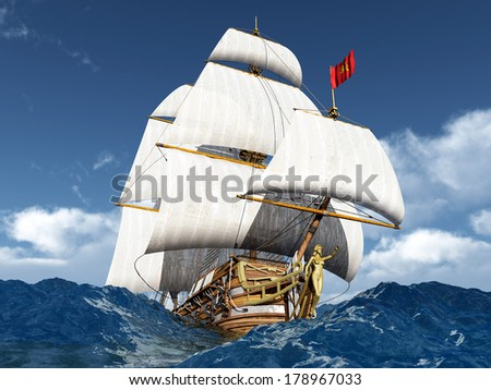 French Warship of the 18th Century in the stormy ocean Computer generated 3D illustration - stock photo