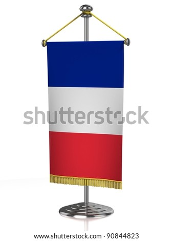 Frenche table flag isolated on white - stock photo