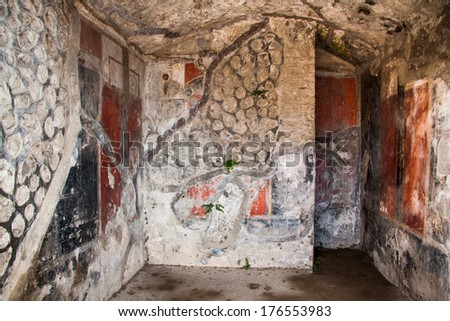 Fresco at the ancient Roman city of Pompeii, which was destroyed and buried during the eruption of Mount Vesuvius in 79 AD  - stock photo