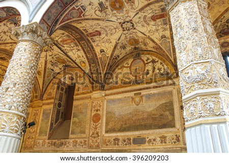 Frescoes decorating the courtyard Palazzo Vecchio. Florence, Italy - stock photo