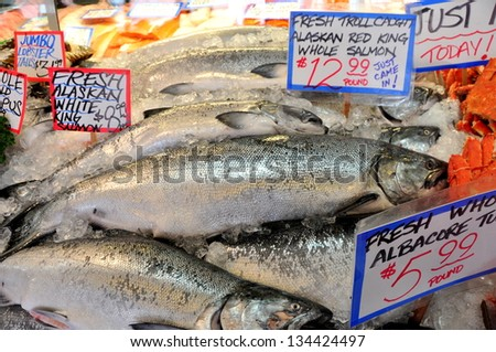 Fresh Alaskan King Salmon Displayed on Pike Place Fish Market Seattle - stock photo