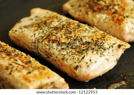 Fresh Alaskan salmon steak on a grill plate. - stock photo