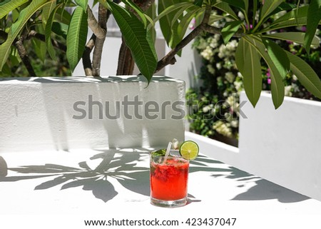Fresh alcohol cocktail with rum and mint, selective focus - stock photo