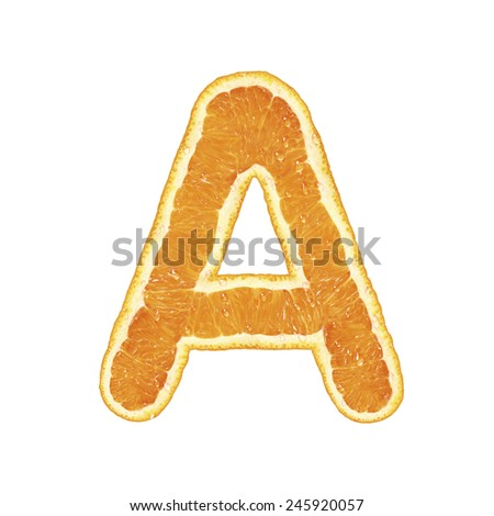 Fresh alphabet isolated on white background (Letter A)  - stock photo