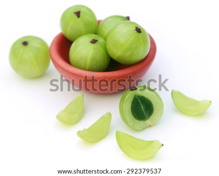 Fresh amla over white background - stock photo