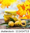 fresh and canned apricot on a background of autumn leaves - stock photo
