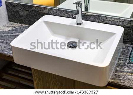 Fresh and clean washbasin - stock photo