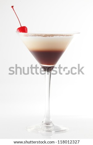 fresh and cold cocktail on white background - stock photo