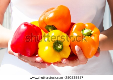 Fresh and colorful peppers  - stock photo