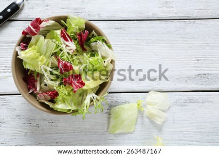 fresh and crisp salad in a bowl, food - stock photo