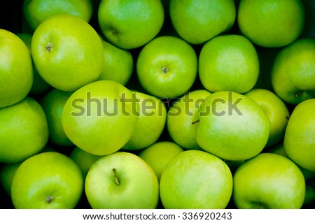 Fresh and crispy green apples - stock photo