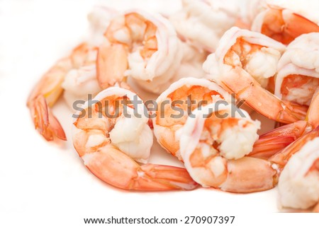 Fresh and delicious boiled or steamed shrimps or prawn for food on white background - stock photo