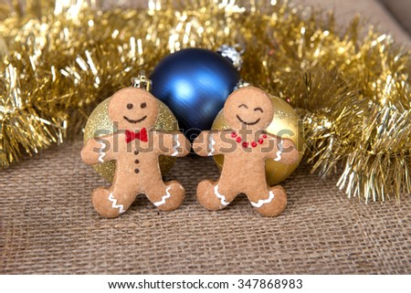 fresh and delicious cookies with christmas ornaments - stock photo
